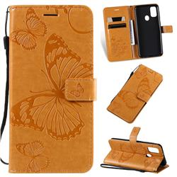 Embossing 3D Butterfly Leather Wallet Case for Samsung Galaxy M30s - Yellow
