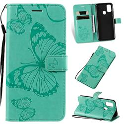 Embossing 3D Butterfly Leather Wallet Case for Samsung Galaxy M30s - Green