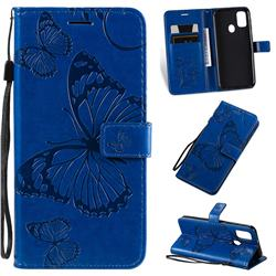 Embossing 3D Butterfly Leather Wallet Case for Samsung Galaxy M30s - Blue