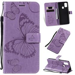 Embossing 3D Butterfly Leather Wallet Case for Samsung Galaxy M30s - Purple