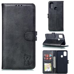 Embossing Happy Cat Leather Wallet Case for Samsung Galaxy M30s - Black