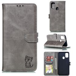 Embossing Happy Cat Leather Wallet Case for Samsung Galaxy M30s - Gray