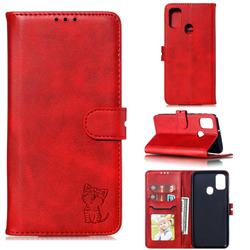 Embossing Happy Cat Leather Wallet Case for Samsung Galaxy M30s - Red