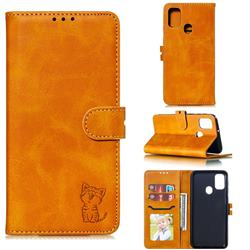 Embossing Happy Cat Leather Wallet Case for Samsung Galaxy M30s - Yellow