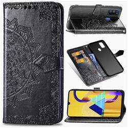 Embossing Imprint Mandala Flower Leather Wallet Case for Samsung Galaxy M30s - Black