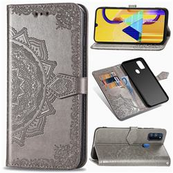 Embossing Imprint Mandala Flower Leather Wallet Case for Samsung Galaxy M30s - Gray