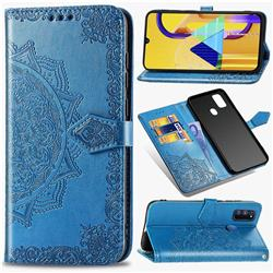 Embossing Imprint Mandala Flower Leather Wallet Case for Samsung Galaxy M30s - Blue