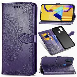 Embossing Imprint Mandala Flower Leather Wallet Case for Samsung Galaxy M30s - Purple