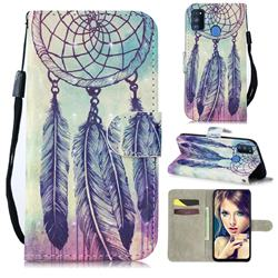 Feather Wind Chimes 3D Painted Leather Wallet Phone Case for Samsung Galaxy M30s