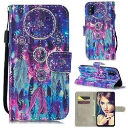 Star Wind Chimes 3D Painted Leather Wallet Phone Case for Samsung Galaxy M30s
