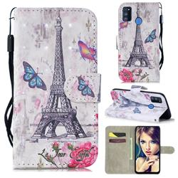 Paris Tower 3D Painted Leather Wallet Phone Case for Samsung Galaxy M30s
