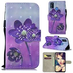 Purple Flower 3D Painted Leather Wallet Phone Case for Samsung Galaxy M30s