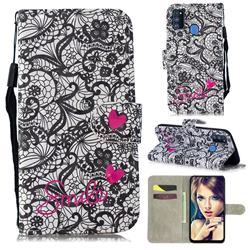 Lace Flower 3D Painted Leather Wallet Phone Case for Samsung Galaxy M30s