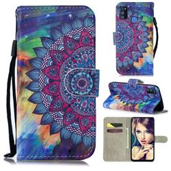 Oil Painting Mandala 3D Painted Leather Wallet Phone Case for Samsung Galaxy M30s