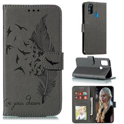 Intricate Embossing Lychee Feather Bird Leather Wallet Case for Samsung Galaxy M30s - Gray