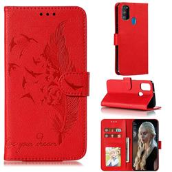 Intricate Embossing Lychee Feather Bird Leather Wallet Case for Samsung Galaxy M30s - Red