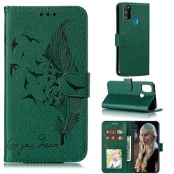 Intricate Embossing Lychee Feather Bird Leather Wallet Case for Samsung Galaxy M30s - Green