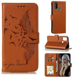 Intricate Embossing Lychee Feather Bird Leather Wallet Case for Samsung Galaxy M30s - Brown