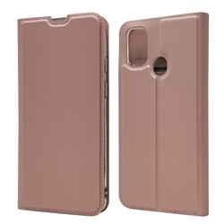 Ultra Slim Card Magnetic Automatic Suction Leather Wallet Case for Samsung Galaxy M30s - Rose Gold