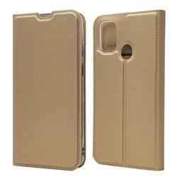 Ultra Slim Card Magnetic Automatic Suction Leather Wallet Case for Samsung Galaxy M30s - Champagne