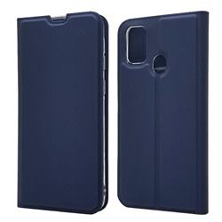 Ultra Slim Card Magnetic Automatic Suction Leather Wallet Case for Samsung Galaxy M30s - Royal Blue