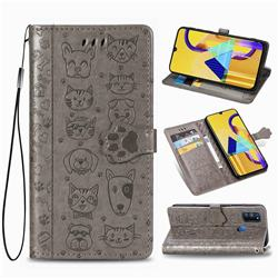 Embossing Dog Paw Kitten and Puppy Leather Wallet Case for Samsung Galaxy M30s - Gray