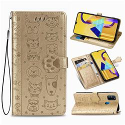 Embossing Dog Paw Kitten and Puppy Leather Wallet Case for Samsung Galaxy M30s - Champagne Gold