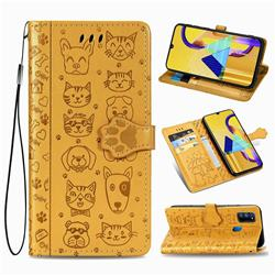 Embossing Dog Paw Kitten and Puppy Leather Wallet Case for Samsung Galaxy M30s - Yellow