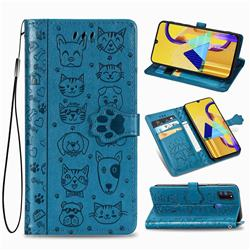 Embossing Dog Paw Kitten and Puppy Leather Wallet Case for Samsung Galaxy M30s - Blue