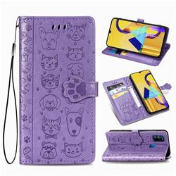 Embossing Dog Paw Kitten and Puppy Leather Wallet Case for Samsung Galaxy M30s - Purple