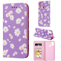 Ultra Slim Daisy Sparkle Glitter Powder Magnetic Leather Wallet Case for Samsung Galaxy M30s - Purple