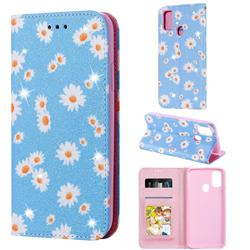 Ultra Slim Daisy Sparkle Glitter Powder Magnetic Leather Wallet Case for Samsung Galaxy M30s - Blue