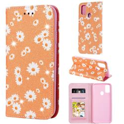 Ultra Slim Daisy Sparkle Glitter Powder Magnetic Leather Wallet Case for Samsung Galaxy M30s - Orange