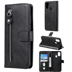 Retro Luxury Zipper Leather Phone Wallet Case for Samsung Galaxy M30s - Black