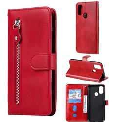 Retro Luxury Zipper Leather Phone Wallet Case for Samsung Galaxy M30s - Red