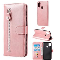 Retro Luxury Zipper Leather Phone Wallet Case for Samsung Galaxy M30s - Pink