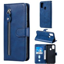 Retro Luxury Zipper Leather Phone Wallet Case for Samsung Galaxy M30s - Blue