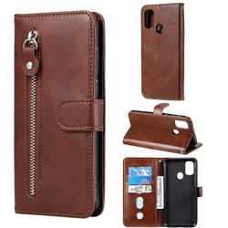 Retro Luxury Zipper Leather Phone Wallet Case for Samsung Galaxy M30s - Brown