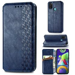 Ultra Slim Fashion Business Card Magnetic Automatic Suction Leather Flip Cover for Samsung Galaxy M30s - Dark Blue