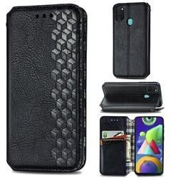 Ultra Slim Fashion Business Card Magnetic Automatic Suction Leather Flip Cover for Samsung Galaxy M30s - Black