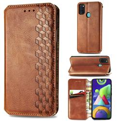 Ultra Slim Fashion Business Card Magnetic Automatic Suction Leather Flip Cover for Samsung Galaxy M30s - Brown