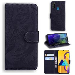 Intricate Embossing Tiger Face Leather Wallet Case for Samsung Galaxy M30s - Black