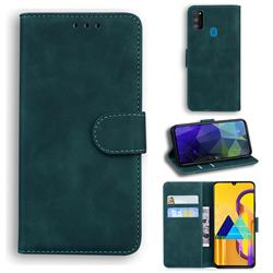 Retro Classic Skin Feel Leather Wallet Phone Case for Samsung Galaxy M30s - Green
