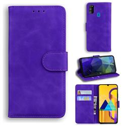 Retro Classic Skin Feel Leather Wallet Phone Case for Samsung Galaxy M30s - Purple