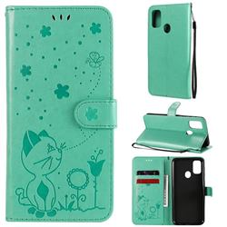 Embossing Bee and Cat Leather Wallet Case for Samsung Galaxy M30s - Green