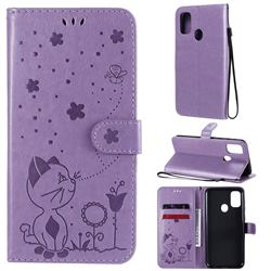Embossing Bee and Cat Leather Wallet Case for Samsung Galaxy M30s - Purple