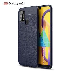 Luxury Auto Focus Litchi Texture Silicone TPU Back Cover for Samsung Galaxy M31 - Dark Blue