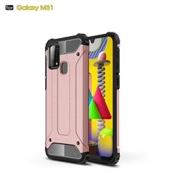 King Kong Armor Premium Shockproof Dual Layer Rugged Hard Cover for Samsung Galaxy M31 - Rose Gold