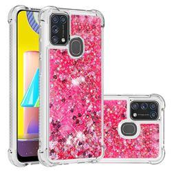 Dynamic Liquid Glitter Sand Quicksand TPU Case for Samsung Galaxy M31 - Pink Love Heart