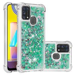 Dynamic Liquid Glitter Sand Quicksand TPU Case for Samsung Galaxy M31 - Green Love Heart